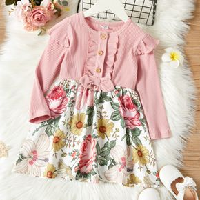 Toddler Girl Ruffled Button Design Ribbed Floral Print Stitching Dress