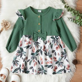 Toddler Girl Bowknot Button Design Floral Print Stitching Long-sleeve Dress