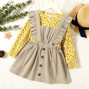 2-piece Toddler Girl Floral Daisy Print Long-sleeve Top and Button Design Ruffled Suspender Skirt Set