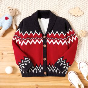 Toddler Boy Colorblock Button Design Striped Sweater