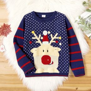 Toddler Boy Christmas Deer Embroidered Striped Sweater