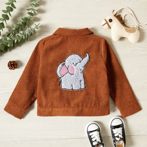 Toddler Girl Elephant Embroidered Lapel Collar Button Design Jacket