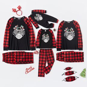 Christmas Letters and Face Mask Print Plaid Family Matching Long-sleeve Pajamas Sets (Flame Resistant)