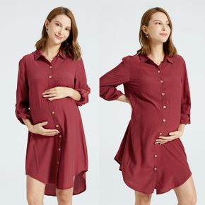 Maternity Burgundy Color Long-sleeve Button Placket Nightgowns