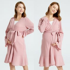Maternity Pink Long-sleeve Belted Nightdress
