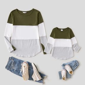 Colorblock Striped Crewneck Long-sleeve T-shirts for Mom and Me