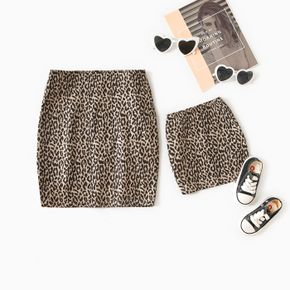 Leopard Print Mini Bodycon Pencil Skirt for Mom and Me
