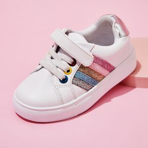 Toddler / Kid Colorful Band Decor Velcro White Sports Shoes