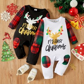 Christmas Deer and Letter Print Baby Boy/Girl Plaid Splicing Long-sleeve Jumpsuit