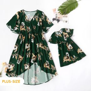All Over Floral Print Dark Green Cross Wrap V Neck Ruffle Short Sleeve Dress for Mom and Me