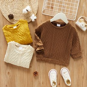 Toddler Boy Casual Solid Cable Knit Sweater