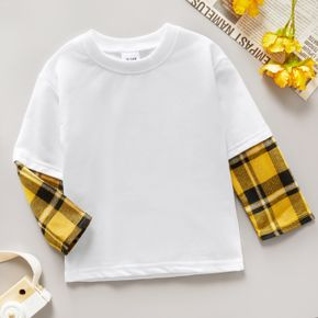 Toddler Boy Plaid Stitching Casual Long-sleeve Tee