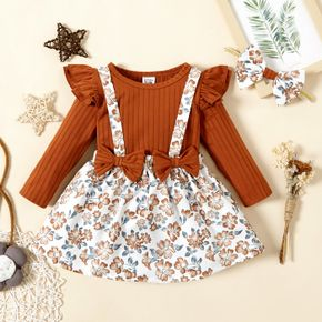 3pcs Baby Girl Ruffle Long-sleeve Ribbed Romper and Floral Print Suspender Skirt Set