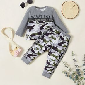 2pcs Baby Boy Letter Print Grey Camouflage Long-sleeve Sweatshirts and Trousers Set
