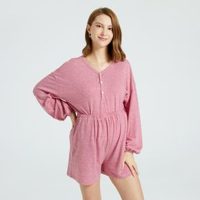 Maternity Half Button Solid Color Long-sleeve Pajamas