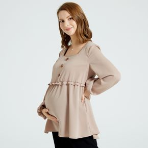 Maternity Solid Color Tie Back Square Neck Half Button Long-sleeve T-shirt