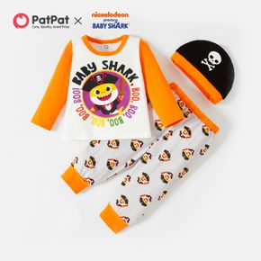 Baby Shark 3-piece Baby Boy Halloween Pirate Cotton Tee and Pants Sets with Hat