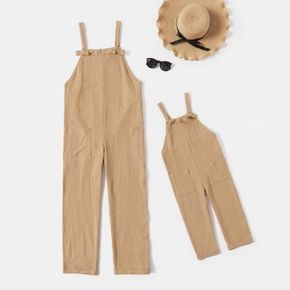 100% Cotton Crepe Khaki Casual Sleeveless Overalls Ankle-length Pants for Mom and Me