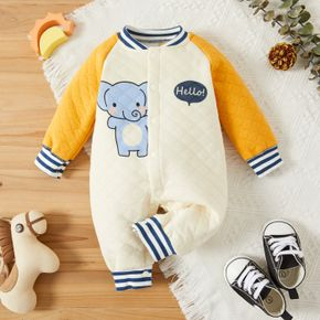 Cartoon Elephant and Letter Print Raglan Long Sleeve Baby Quilted Jumpsuit