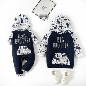 Dinosaur and Letter Print Dark Blue Long-sleeve Hooded Sweatshirts for Brother and Me