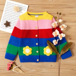 Toddler Girl Floral Embroidered Colorful Stripe Button Design Knit Sweater