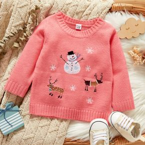Christmas Snowman and Reindeer Embroidered Pink Baby Long-sleeve Knitted Sweater