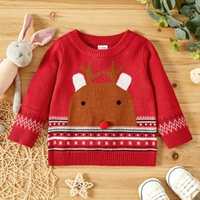 Christmas Reindeer Pattern Baby Boy/Girl Red Long-sleeve Knitted Sweater Pullover