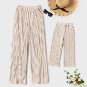 Solid Ribbed Wide Leg Casual Loose Pants Trousers for Mom and Me