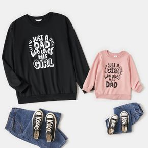 Letter Print Crewneck Long-sleeve Sweatshirts for Dad and Me
