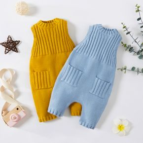 Baby Boy/Girl Solid Sleeveless Knitted Jumpsuit Overalls