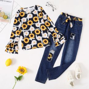2-piece Kid Girl Floral Print Layered Sleeve Top and Patchwork Belted Denim Jeans Set