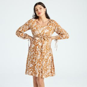 Maternity Floral Print Square Neck Long-sleeve Lace-up Dress