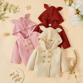 Baby Girl 3D Ears Hooded Long-sleeve Double Breasted Solid Knitting Sweater Outwear