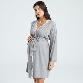 Maternity Grey Lace Trim Belted Long-sleeve Nightgowns