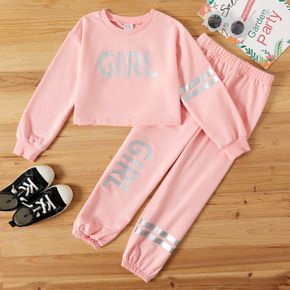 2-piece Kid Girl Letter Print Striped Pink Crop Pullover and Pants Set