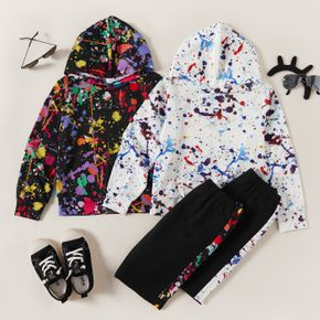 2-piece Kid Boy Painting Print Hoodie and Elasticized Pants Casual Set