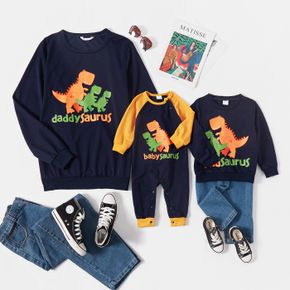 Cartoon Dinosaur and Letter Print Dark Blue Long-sleeve Sweatshirts for Dad and Me
