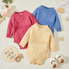 Baby Girl Solid Long-sleeve Knitted Romper