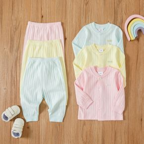 100% Cotton 2pcs Solid Button Down Long-sleeve Baby Loungewear Set