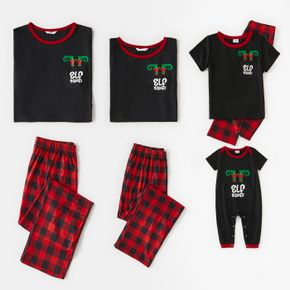 Christmas Solid Splice Creative Pocket Pattern Print Short-sleeve Family Matching Pajamas Sets (Flame Resistant)