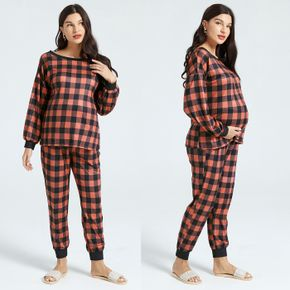 Maternity Plaid Round Neck Long-sleeve Pullover & Pants Set for Home