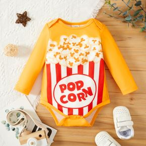Baby Boy Snack Popcorn and Letter Print Yellow Long-sleeve Romper