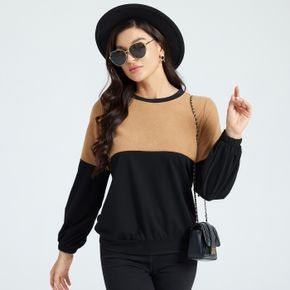 Color Block Round-collar Long-sleeve Pullover