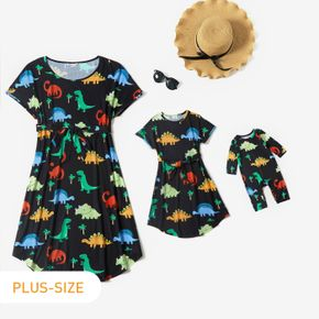 All Over Multicolor Dinosaur Print Black Short-sleeve Belted Midi Dress for Mom and Me