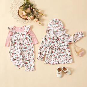 Sibling Matching Floral Print Long-sleeve Hooded Coat and Ruffle Jumpsuit Sets