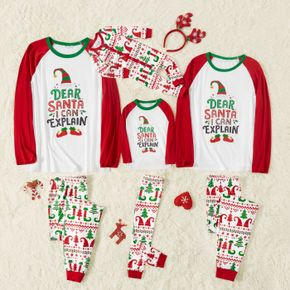 Christmas Elf and Letter Print Red Family Matching Long-sleeve Pajamas Sets