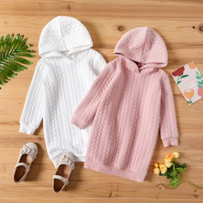 Kid Girl Solid Cable Knit Hooded Sweatshirt Dress