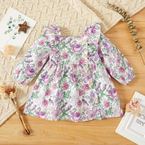 Baby Girl All Over Floral Print Square Neck Long-sleeve Ruffle Dress