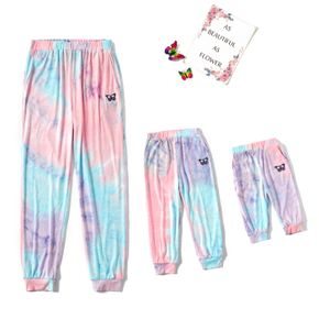 Tie Dye Butterfly Patch Casual Jogger Sweatpants for Mom and Me