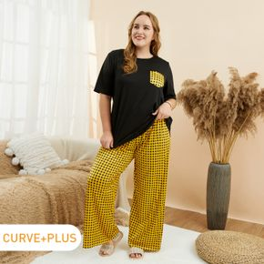 2-piece Women Plus Size Casual Plaid Tee and Pants Lounge Set